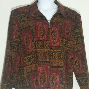 NEW Briggs 18w jacket Blazer burgundy paisley